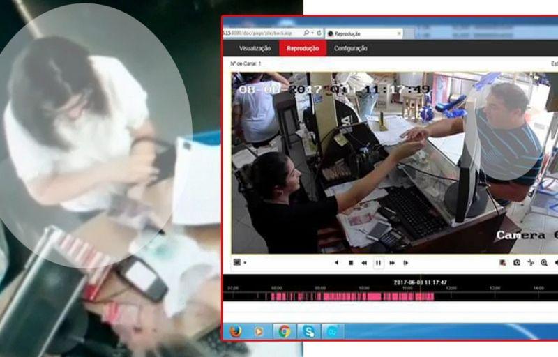 O casal aplicando golpes em Marília (farmácia) e em Oriente (loja de materiais de construção)