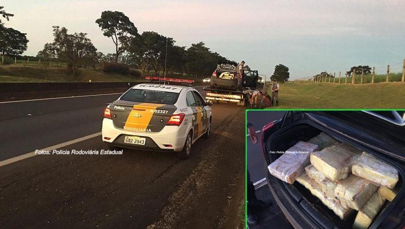 Ao fiscalizar o guincho, os policiais encontraram a droga que era levada no carro.