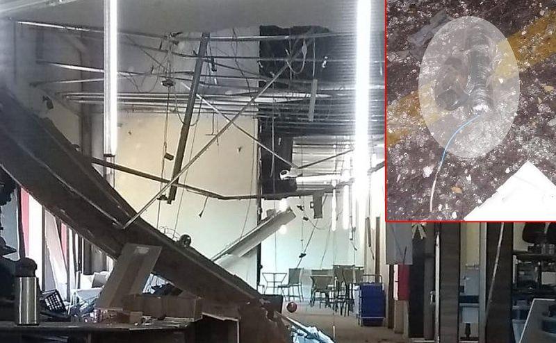 O supermercado ficou bastante danificado. No detalhe, a dinamite que não explodiu