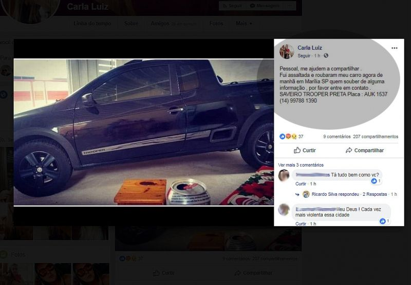 O caso está mobilizando as redes sociais em Marília.