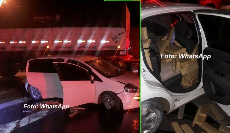 O veículo com a droga finalmente foi interceptado após se envolver no acidente.