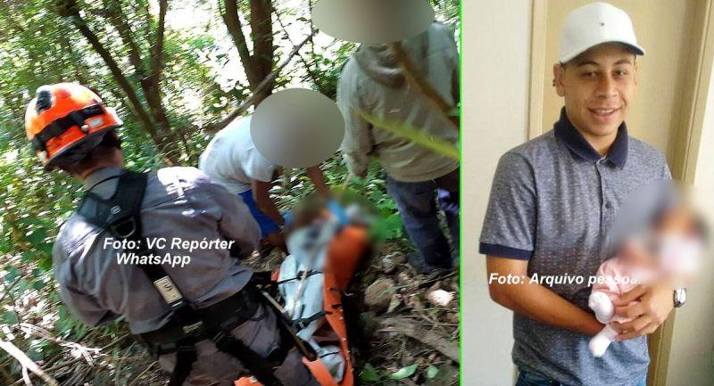 Equipes dos Bombeiros localizam o corpo do rapaz que já foi identificado.