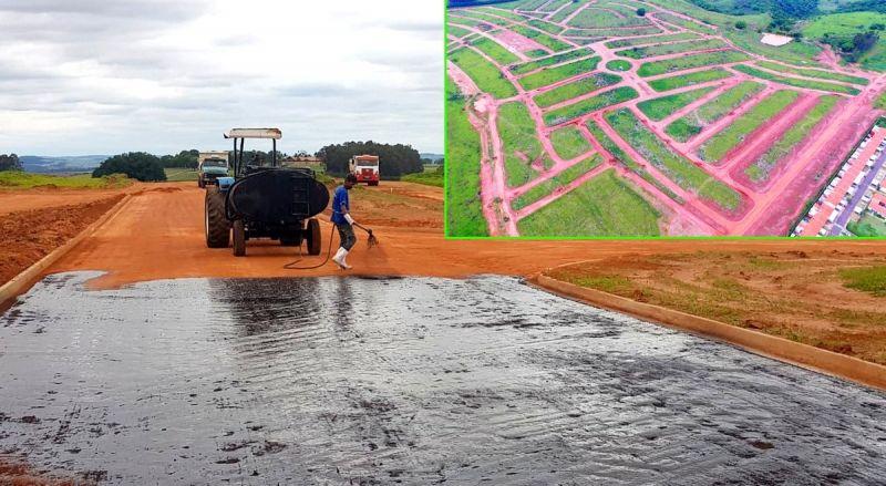 O asfalto do empreendimento foi antecipado e começou nesta semana.