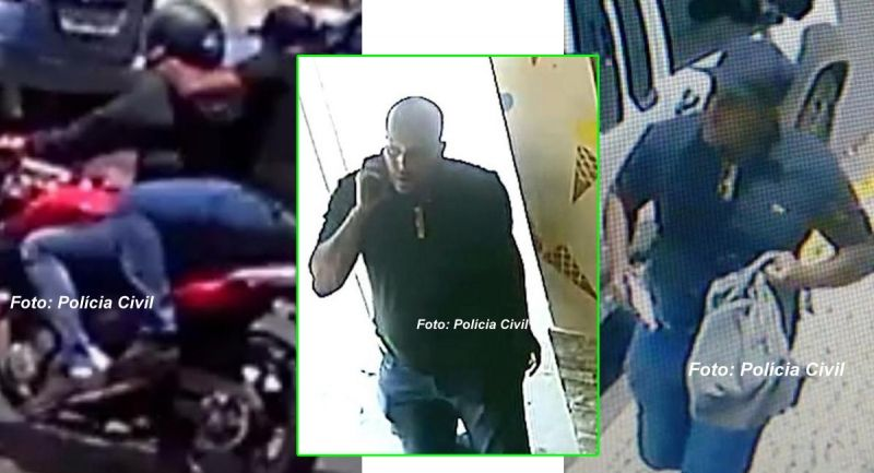 Os três momentos em que a polícia flagra o atirador, ainda não identificado.