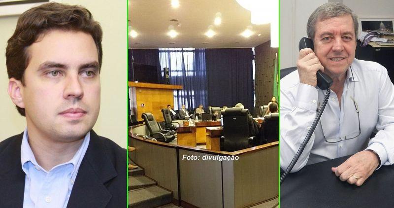 Sessão de julgamento do TRE (foto central) que condenou Vinicius e Abelardo Camarinha.