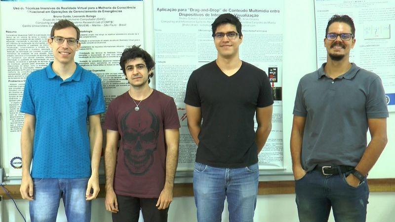 Da esquerda para a direita os ex-alunos do UNIVEM, Alisson Solito, Pedro Henrique Parronchi Lopes, Jordan  Ferreira Saran e Raphael Zanon Rodrigues, aprovados em Programas de Mestrado