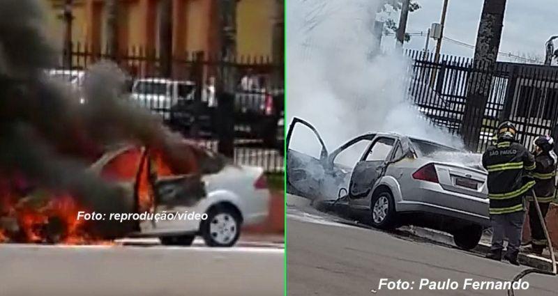 As chamas destruíram totalmente o veículo, apesar da ação dos Bombeiros.