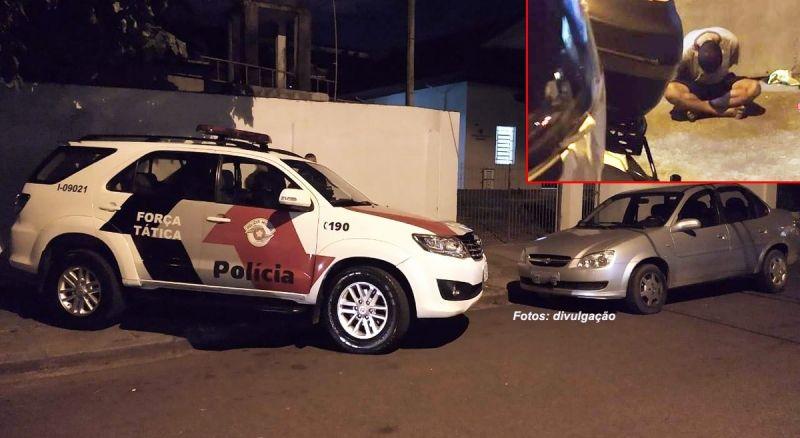 O veículo usado no assalto e um dos criminosos presos pela PM.