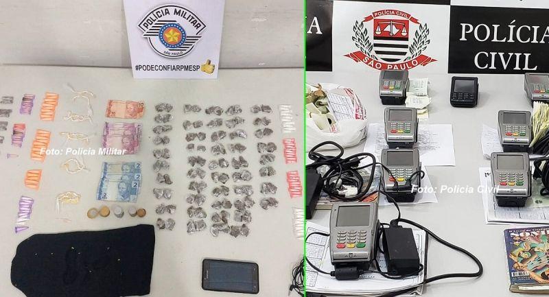 Material apreendidos pelas polícias Militar e Civil durante operações em Marília
