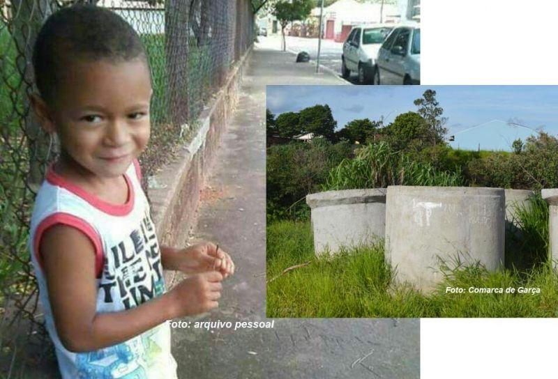 Nicolas morreu ontem à noite. Na foto menor, a manilha onde ele caiu.
