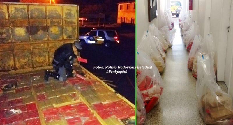 Após retirada da carga de milho foi possível chegar à droga: quase 1 tonelada de maconha.