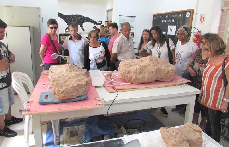 Turistas mineiros conhecem o Museu de Paleontologia de Marília.