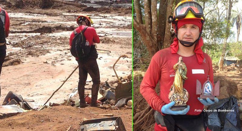 Bombeiros paulistas nas buscas em Brumadinho. A direita, sargento Alex Ramos com as imagens das santas.