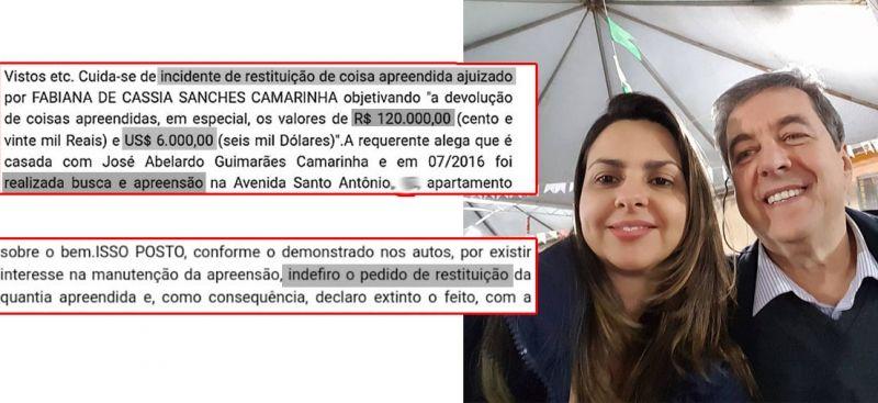Fabiana e Abelardo Camarinha: dinheiro continuará apreendido.