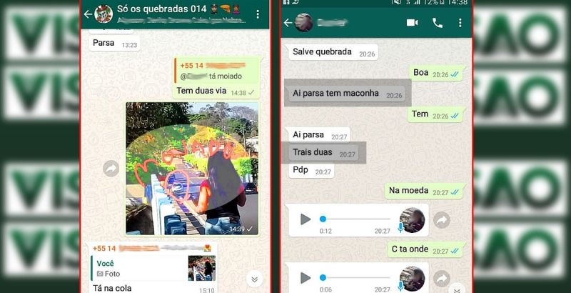 As conversas via WhatsApp solicitando drogas e alerta de olheiros.