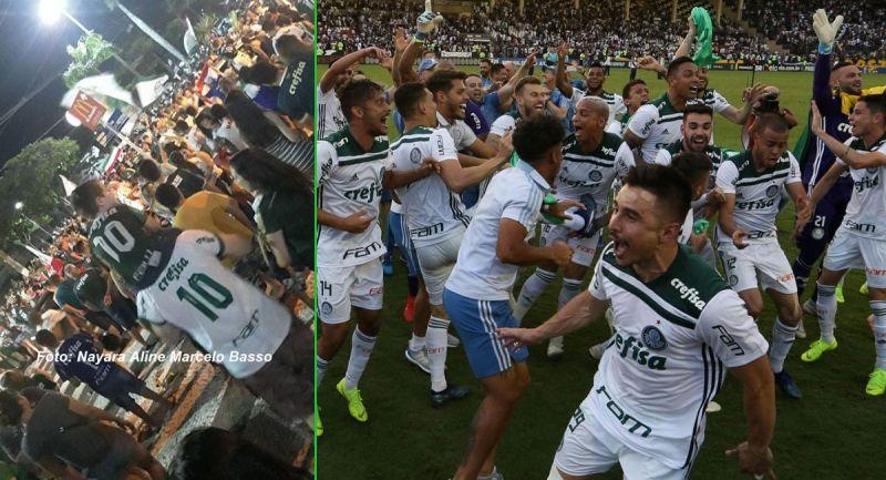 Torcedores marilienses (esq.) e os jogadores comemoram o título do Palmeiras.
