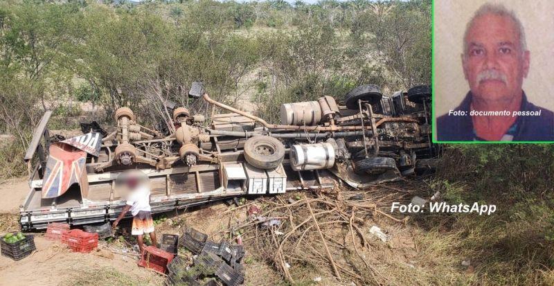 O caminhoneiro José Ângelo Ferreira morreu após o caminhão tombar.