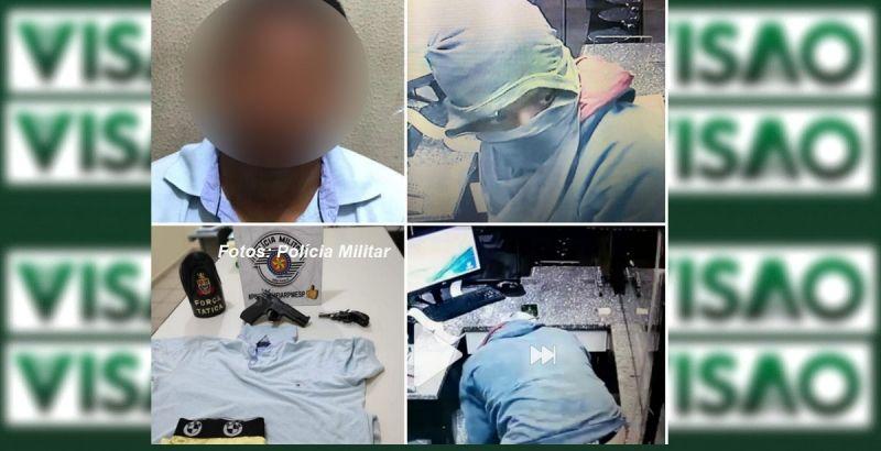 Um dos acusados presos, as roupas e imagens dos assaltos ao posto.