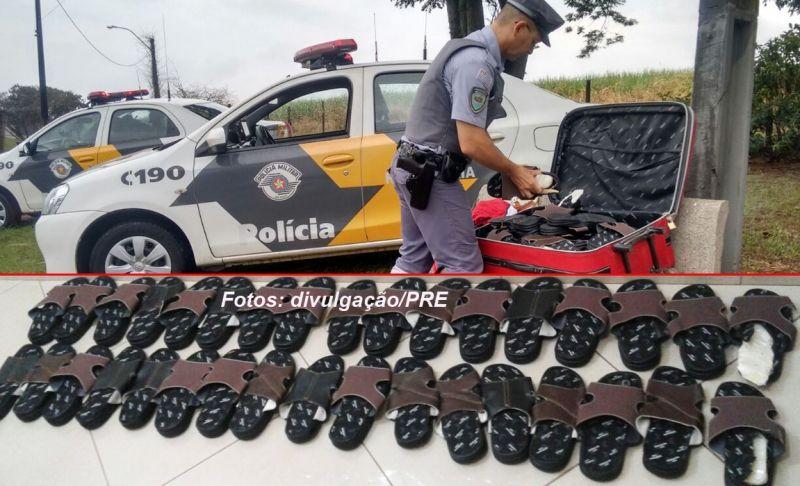Patrulheiros encontraram os chinelos recheados com cocaína.