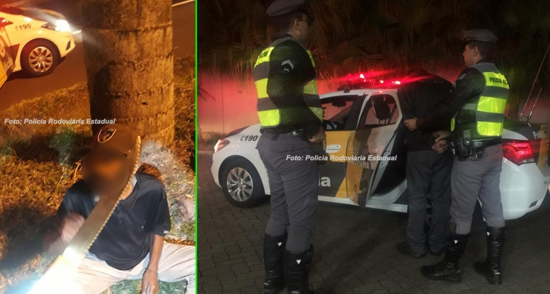 Homem faz ameaças com facão e acaba preso pela Polícia Rodoviária