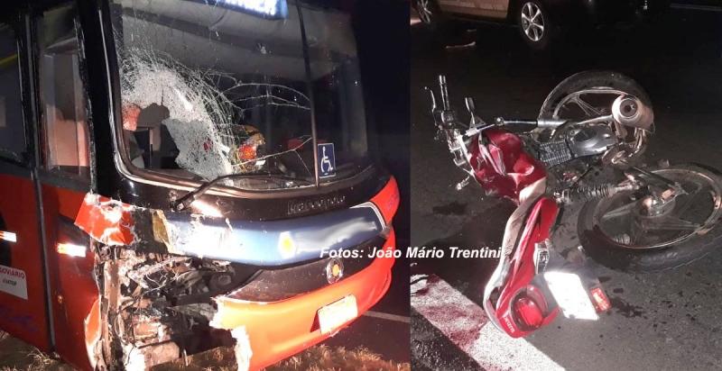 Rapaz morre ao bater moto de frente com ônibus na SP-294