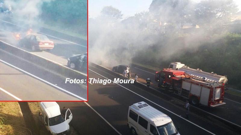 Carro pega fogo na rodovia do Contorno e causa acidente