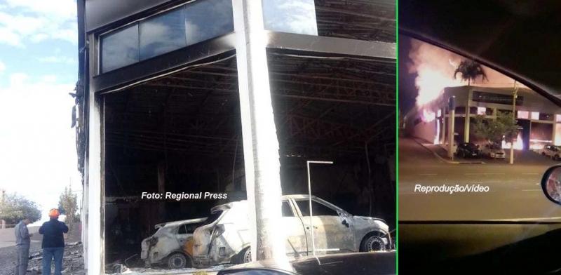 Incêndio destrói concessionária de veículos na região