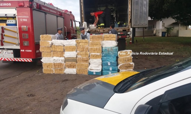 Polícia Rodoviária apreende container com 2,3 toneladas de droga