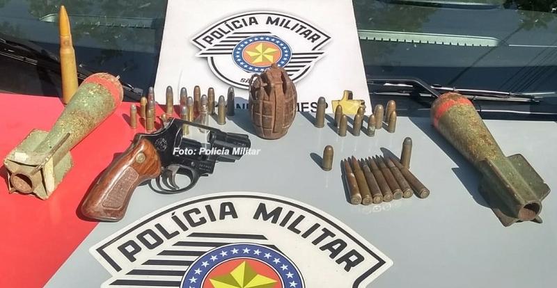 Polícia Militar apreende granada e até morteiros na região