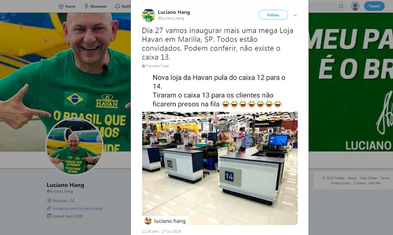 Loja da Havan em Marília não terá caixa número 13